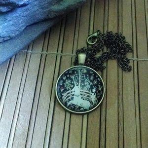 Unicorn cabochon bronze pendant necklace jewelry